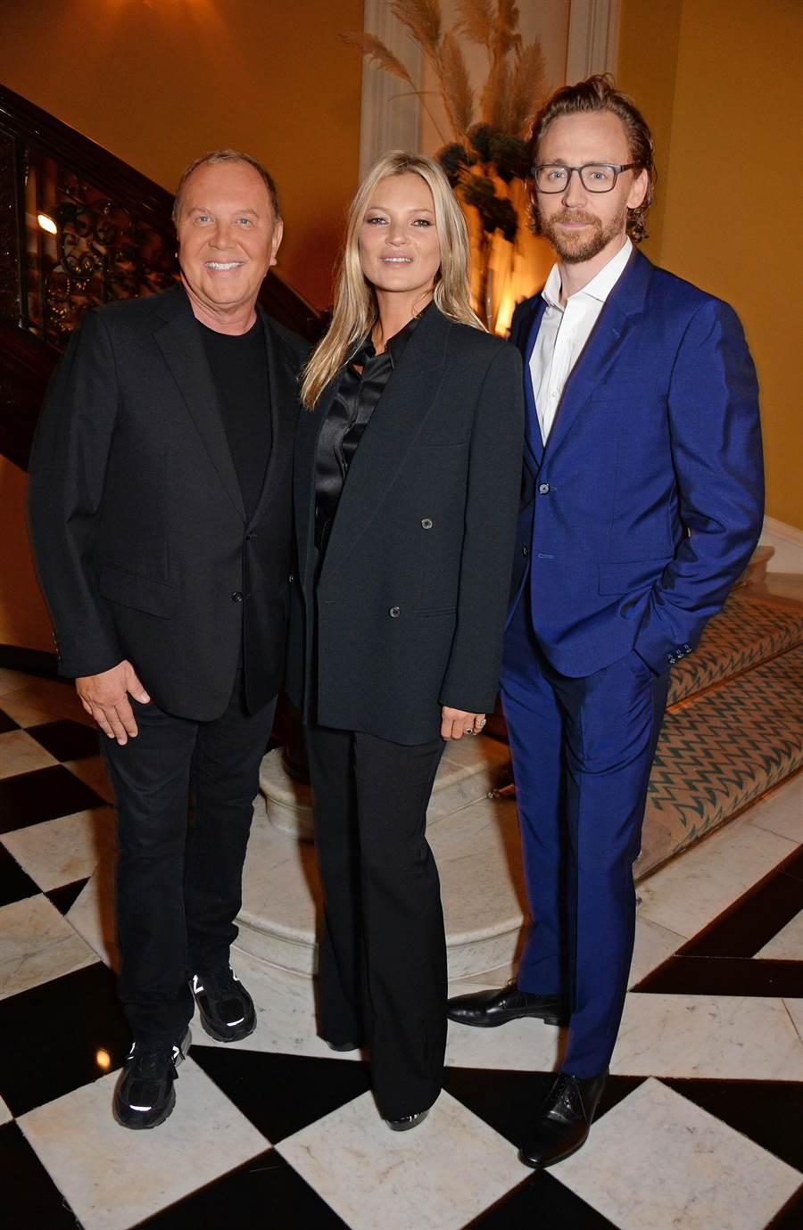 設計師Michael Kors 和超模Kate Moss, 英國演員Tom Hiddleston 出席MK晚宴活動
