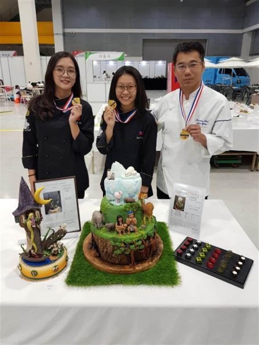 景文科大在烘焙類組獲得3面金牌。(景文科技大學提供)