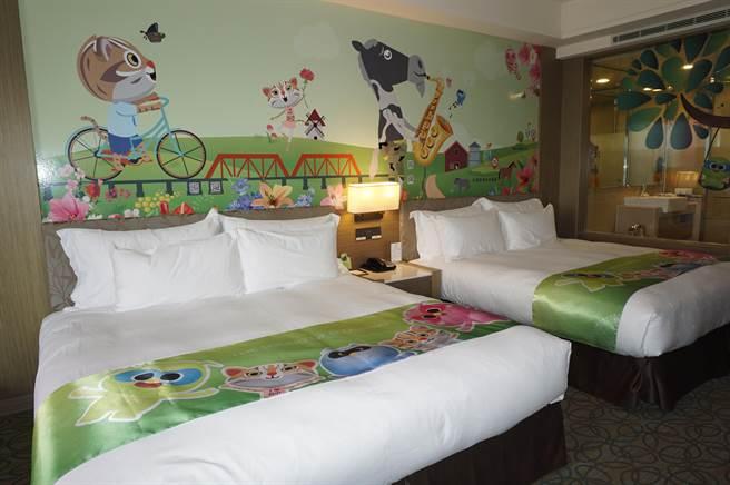 福容大飯店樂園店採用互動科技,特別打造5間「會動的花博主題房」。(王文吉攝)