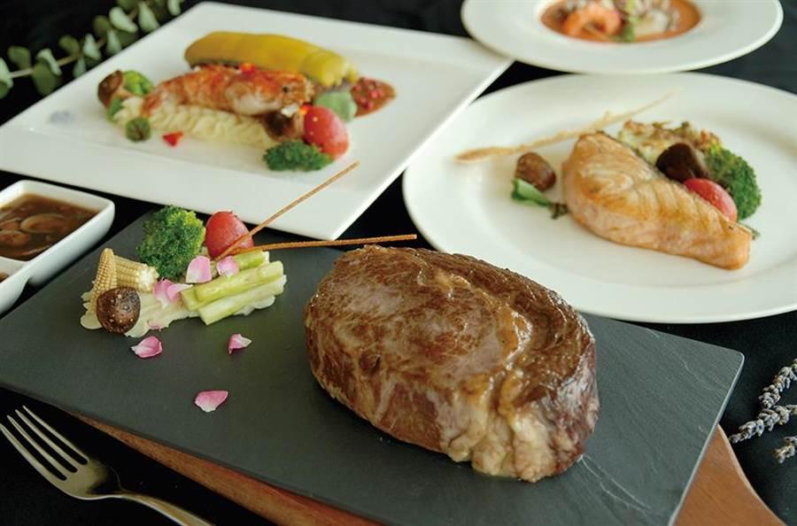 「秋花艷賞」主題套餐一系列主菜,包含雙人共享的燒烤美國特級肋眼牛排、嫩煎挪威鮭魚等。(圖/台中亞緻)