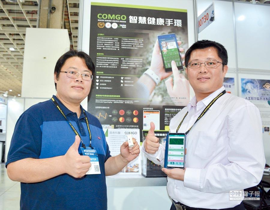 「COMOGO心血管AI健康量測儀」獲得經濟部第25屆創新研究獎為全場亮點,備受各界矚目。長庚大學魏一勤教授(左)與昌泰科醫總經理趙書宏(右)於會場說明示範。圖/李水蓮