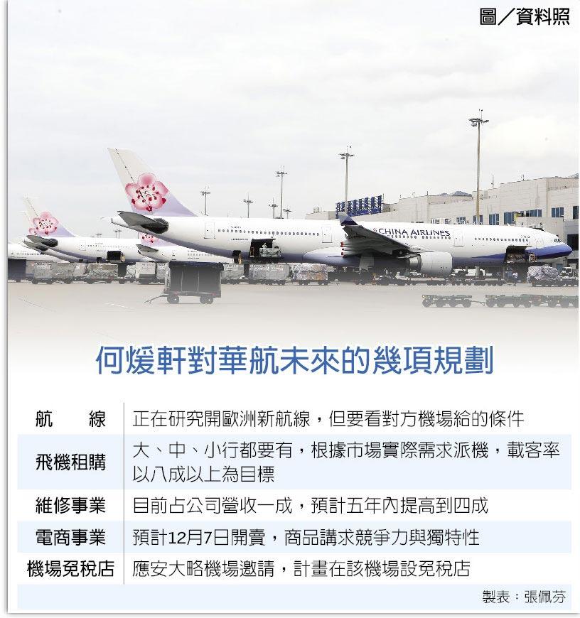 何煖軒對華航未來的幾項規劃  圖/資料照
