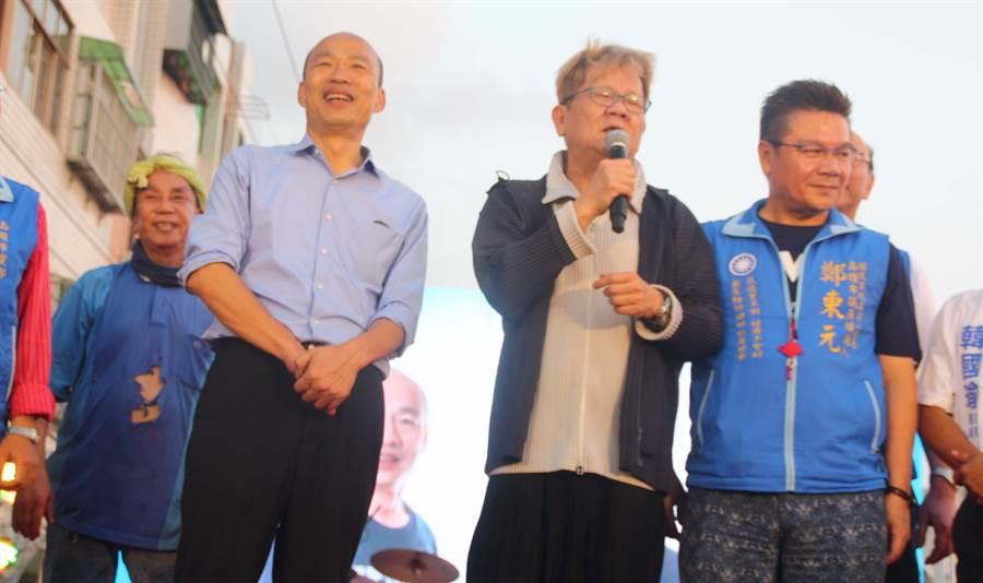 知名藝人鄭進一說,欣賞韓國瑜言之有物,因此獻上政治站台處女秀。(林雅惠攝)