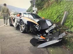影》千萬超跑麥拉倫自撞山壁 車頭全毀頓成廢鐵