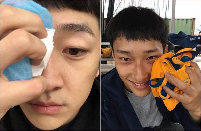 演員葛丞(左)與唐綸(右)演出電影《王牌教師麻辣出擊》拍戲受傷破相。(圖/D.E娛樂提供)