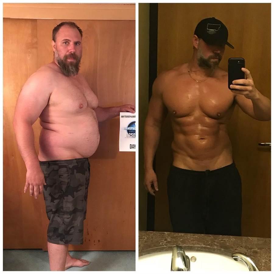派特森常在IG分享自己健身前後的對比照(圖/翻攝自IG/jeremiahpetersonmontana)