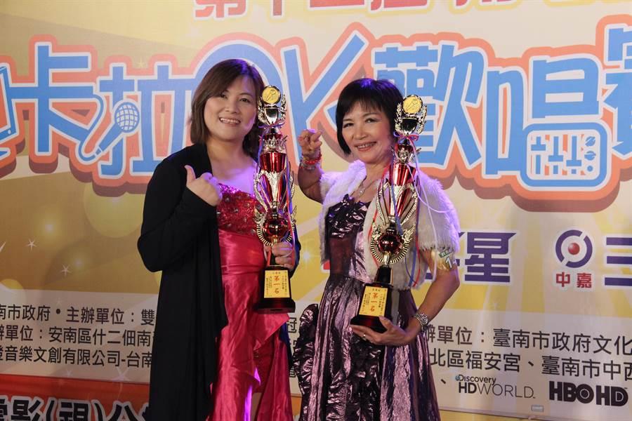 社會組第一名林子琳(左)長青組第一江錦櫻(右)。(三冠王與雙子星電視台提供)