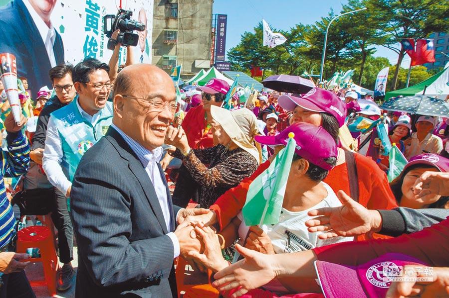 新北市長候選人蘇貞昌因為中央執政拖累,選戰打得辛苦。 (葉德正翻攝)