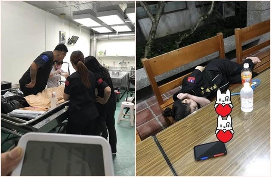 普悠瑪翻覆意外,台東董家8口不幸罹難。76行者遺體修復團隊2天2夜不停進行遺體修復工作,一名遺體修復師倒在椅子上就睡著。(圖片來源:王薇君臉書)