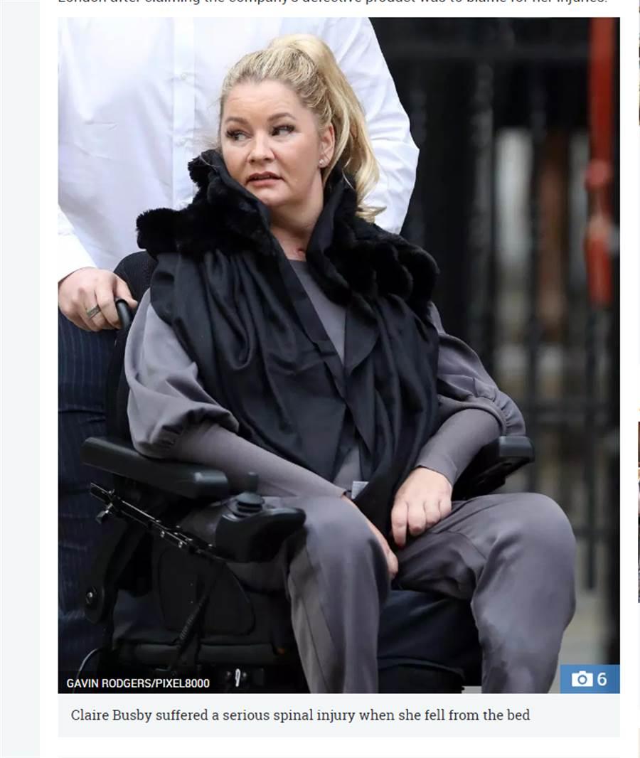 美容師布斯比(Claire Busby)因床塌,導致她脊椎受傷癱瘓(圖翻攝自/太陽報)
