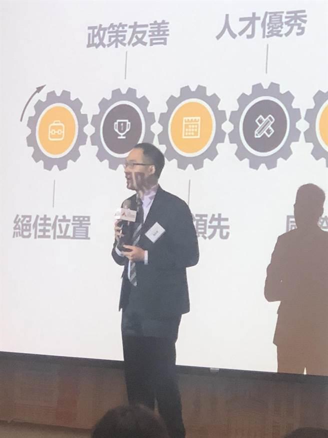 首家聚焦區塊鏈的加速器「ABA」今舉行成立大會,執行長潘奕彰說明加速器未來如呵提供區塊鏈產業一條龍服務。(圖:王玉樹攝)
