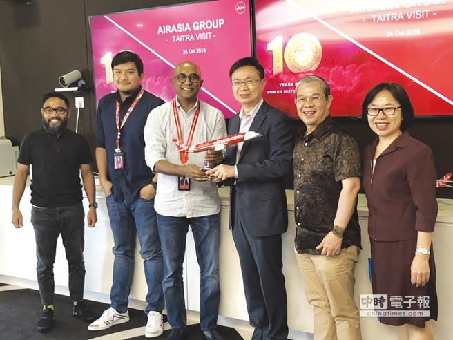 貿協董事長黃志芳(右)與亞航集團CEO Benyamin Ismail(左)洽談雙方合作機會。圖/郭及天