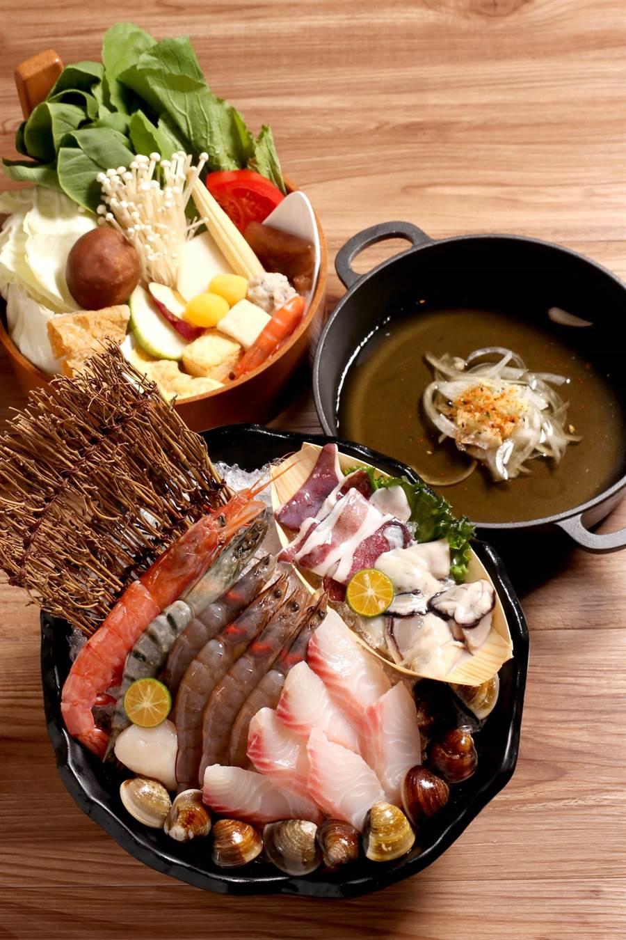 「這一小鍋」推出海鮮控必吃菜單,任選一道主餐皆可加價升級成海陸雙拼套餐。(圖/業者)