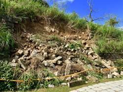 大雨引發土石崩坍 九份頌德公園待修