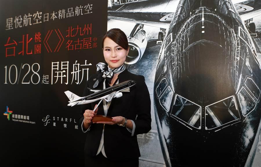 星悅航空空服員展示星悅航空統一以「黑、白、銀」3色為企業色調飛機模型。(陳麒全攝)