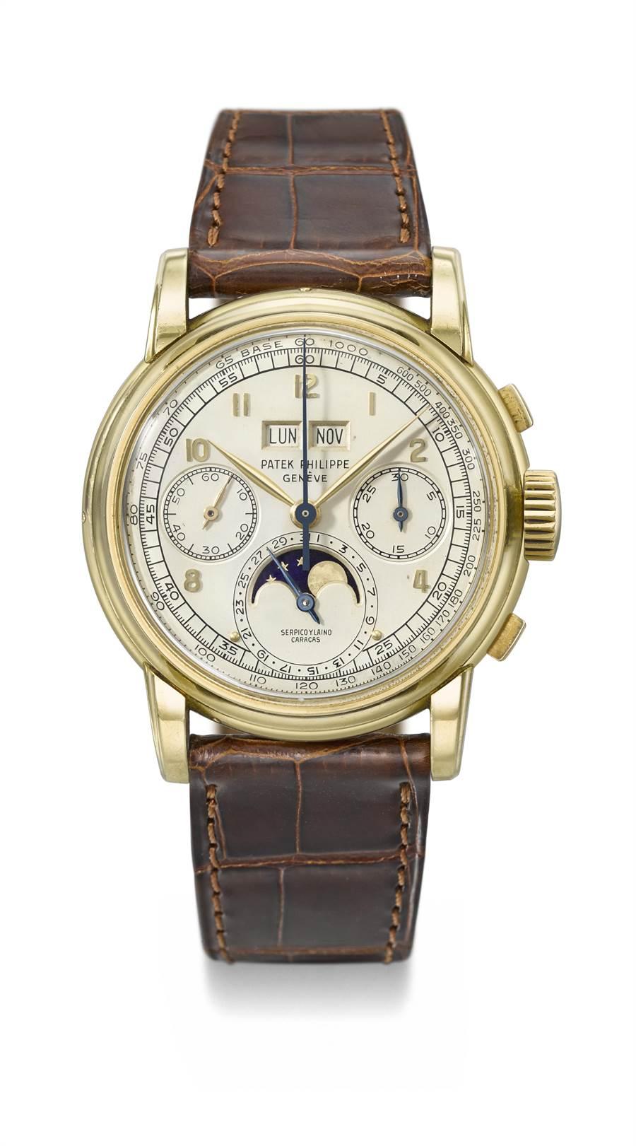 佳士得日內瓦拍賣會領拍之作百達翡麗編號2499玫瑰金萬年曆月相計時腕表,起拍價4600萬元。(佳士得提供)