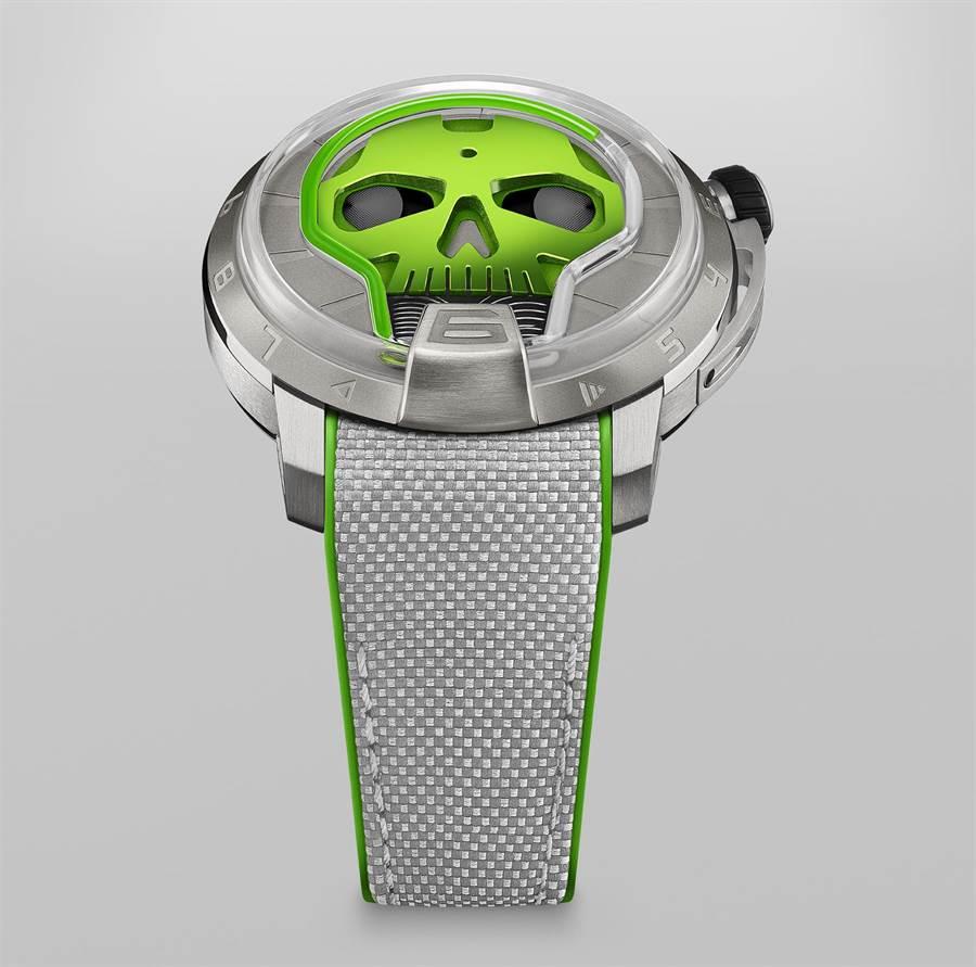 HYT Skull 48.8腕表,共有綠藍紅三色,限量50只,約250萬元。(葳鑠提供)
