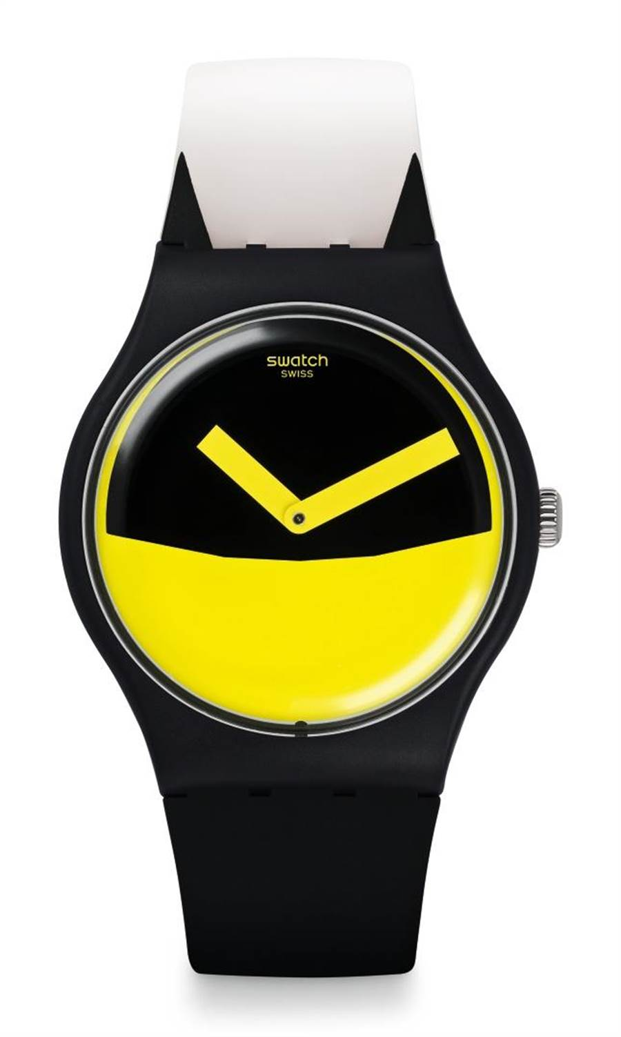 SWATCH萬聖節主打蝙蝠俠黃黑對比色的「正義使者」腕表,2350元。(SWATCH提供)