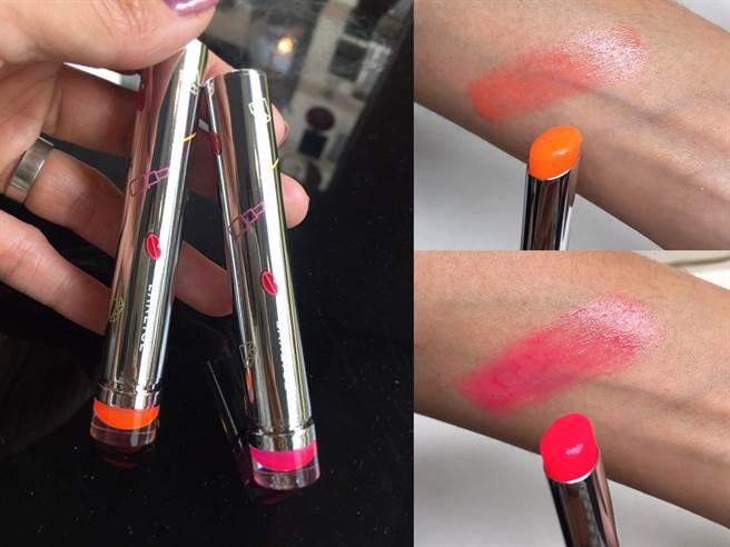 LANEIGE玻璃誘光蜜唇膏-霓光限量版 #1、#2 NT850  有點螢光效果的粉色和橘色,其實擦上唇後並不會太誇張,比起顏色較濃艷的紅色系,小編覺得想裝嫩還是選這兩色!(圖/編輯攝影)