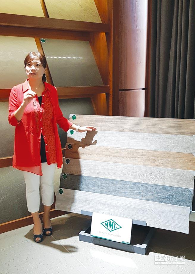 MML瑪摩麗磁公司總經理王鈺琇表示,新進「木紋磚」尺寸為60x120公分的大尺寸磁磚,磁磚紋理表現顏色飽和、自然樸實,為台灣磁磚市場新增不同的顏色款式。圖/王妙琴