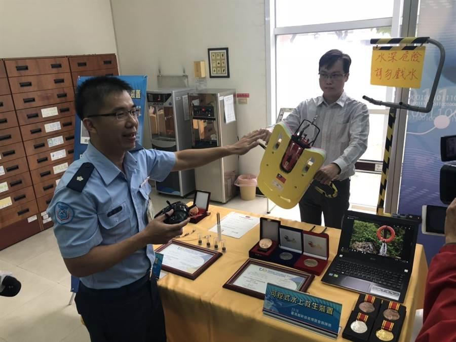 空軍航空技術學院研發「可控式水上救生裝置」。(楊佳穎攝)