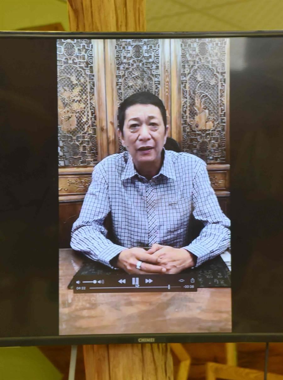 前立委林國慶則透過錄影方式表達心聲。(呂妍庭攝)