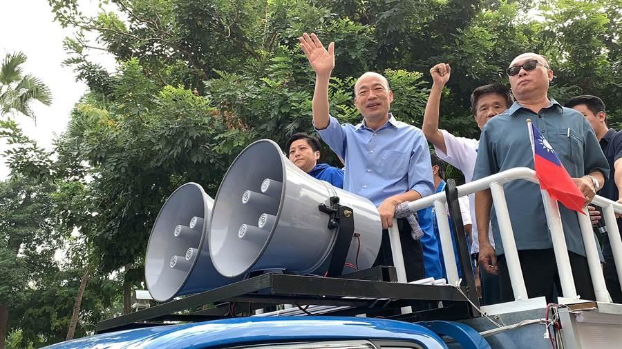 國民黨高市長候選人韓國瑜(前)。(資料照,柯宗緯攝)