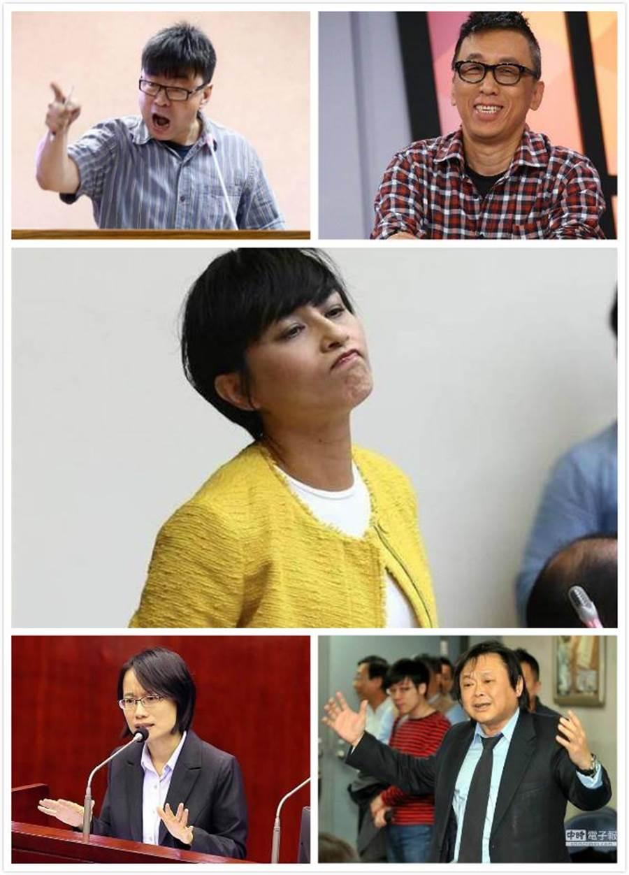 李正皓列出的五大韓國瑜助選員包括民進黨立委段宜康(左上)、作家苦苓(右上)、民進黨立委邱議瑩(中)、北農總經理吳音寧(左下)、民進黨台北市議員王世堅(右下)。(合成圖)