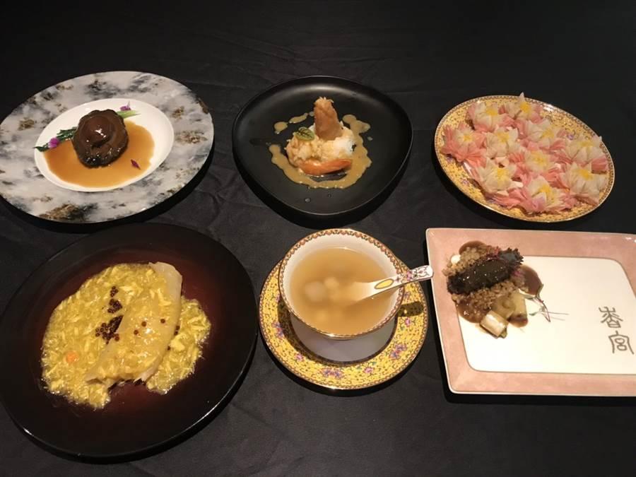 秦嵐與許凱、吳謹言中午享用的「延禧宮廷宴」部分菜色。(林淑娟攝)