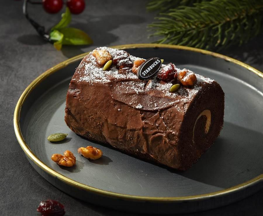 星巴克耶誕甜點,榛果樹幹蛋糕,售價$120。圖/業者提供