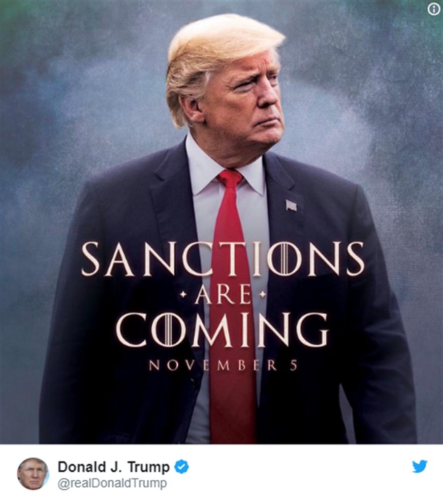 川普的照片寫著:「制裁將至,11月5日」(川普的推特)