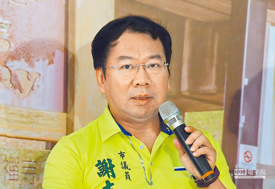 台中市議員謝志忠擔任民代13年以來,認真監督市政、為民喉舌。(黃國峰攝)