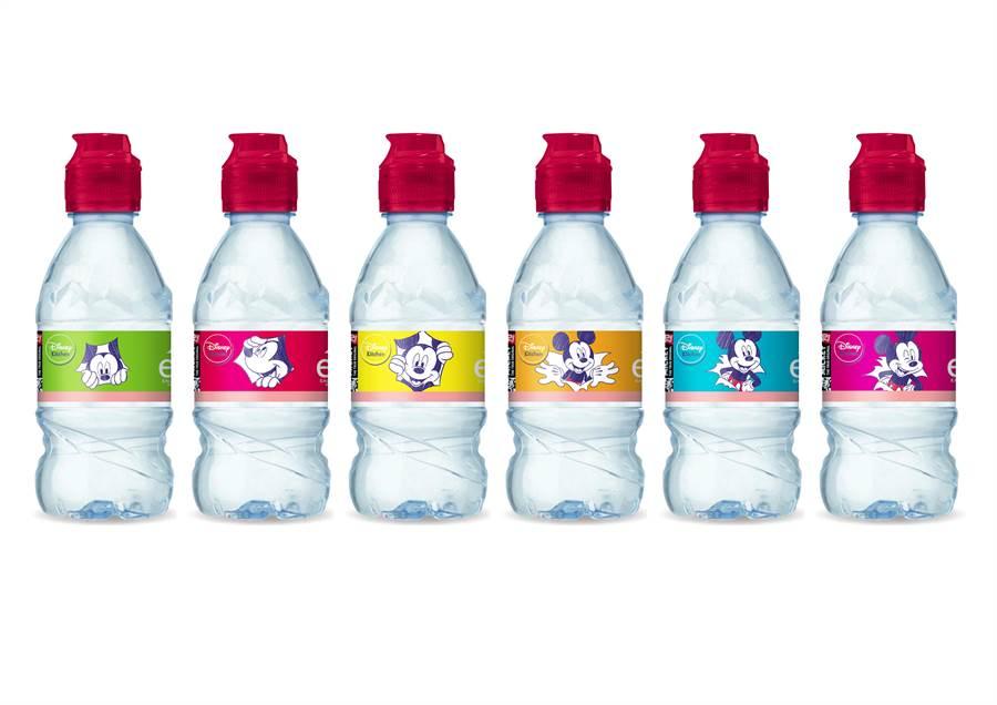 「evian® Mickey Mouse 90週年兒童運動瓶系列」,售價49元/瓶。(圖片提供/ evian®)