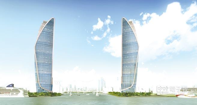 高雄「港灣雙珠」(模擬圖)國際企業總部和六星級飯店,分別座落在港灣最核心的10號碼頭、16到17號碼頭,預估至少引進300億元以上的投資。圖/台灣港務公司提供