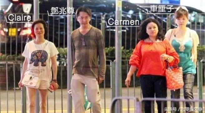 港星鄧兆尊曾被拍到與3個女友一起出遊的日常。(圖/翻攝自微博)