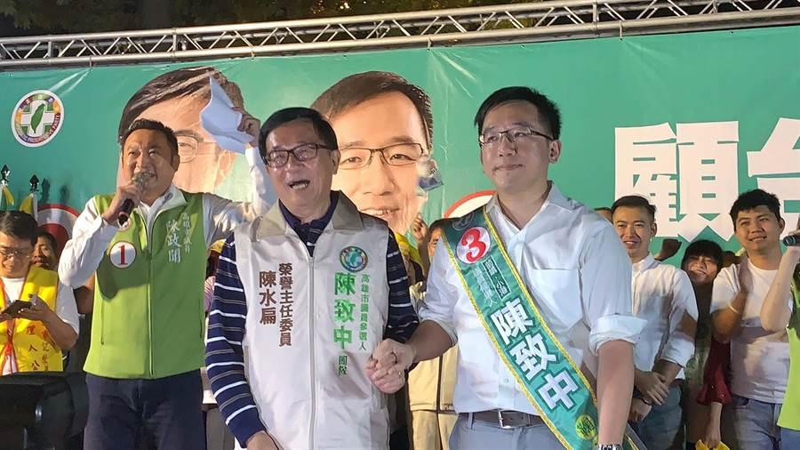 前總統陳水扁日前為子陳致中站台。(柯宗緯攝)