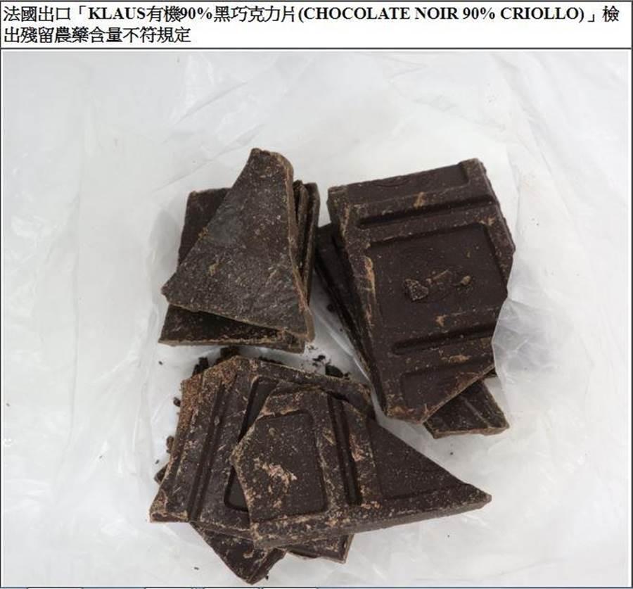 法國進口「KLAUS有機90%黑巧克力片」,遭檢出殘留農藥協力精。(衛福部食藥署提供)