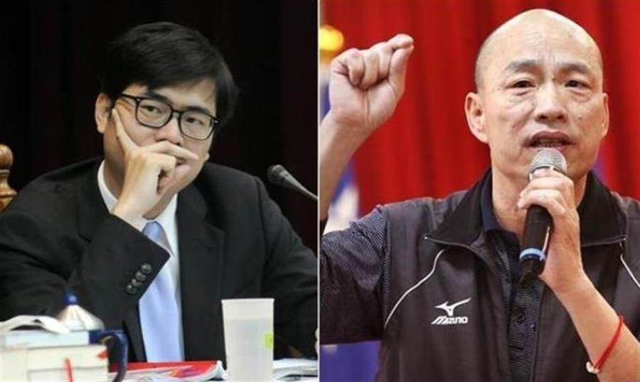 民進黨高雄市長候選人陳其邁(左)、國民黨高雄市長候選人韓國瑜(右)。(本報系資料照)