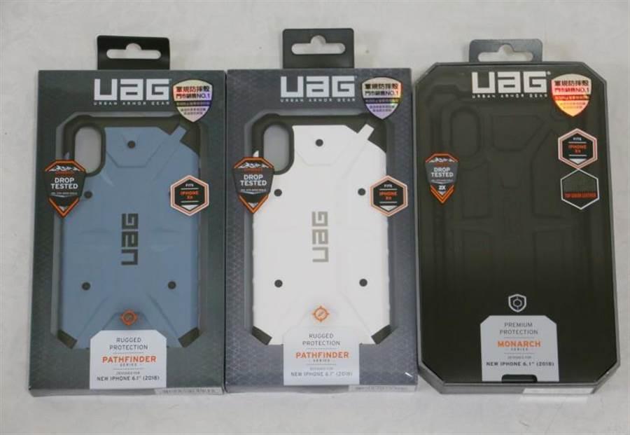 UAG PathFinder(左二)以及Monache保護殼。(圖/黃慧雯攝)