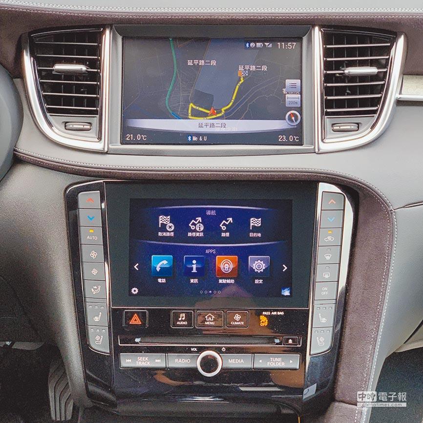 雙螢幕中控台整合應用程式、導航資訊。(陳大任攝)