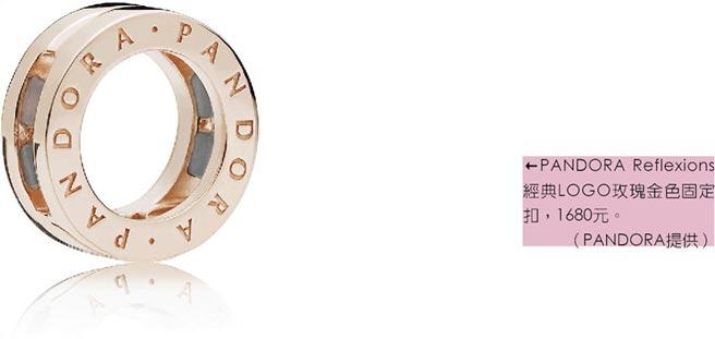 PANDORA Reflexions經典LOGO玫瑰金色固定扣,1680元。(PANDORA提供)