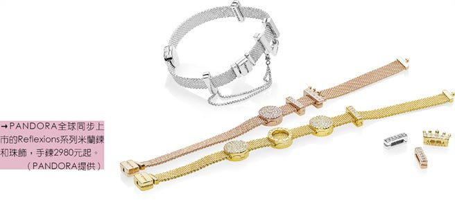 PANDORA全球同步上市的Reflexions系列米蘭鍊和珠飾,手鍊2980元起。(PANDORA提供)