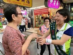 台中》林佳龍妻廖婉如第三市場掃街 攤商贈青蒜高喊當選