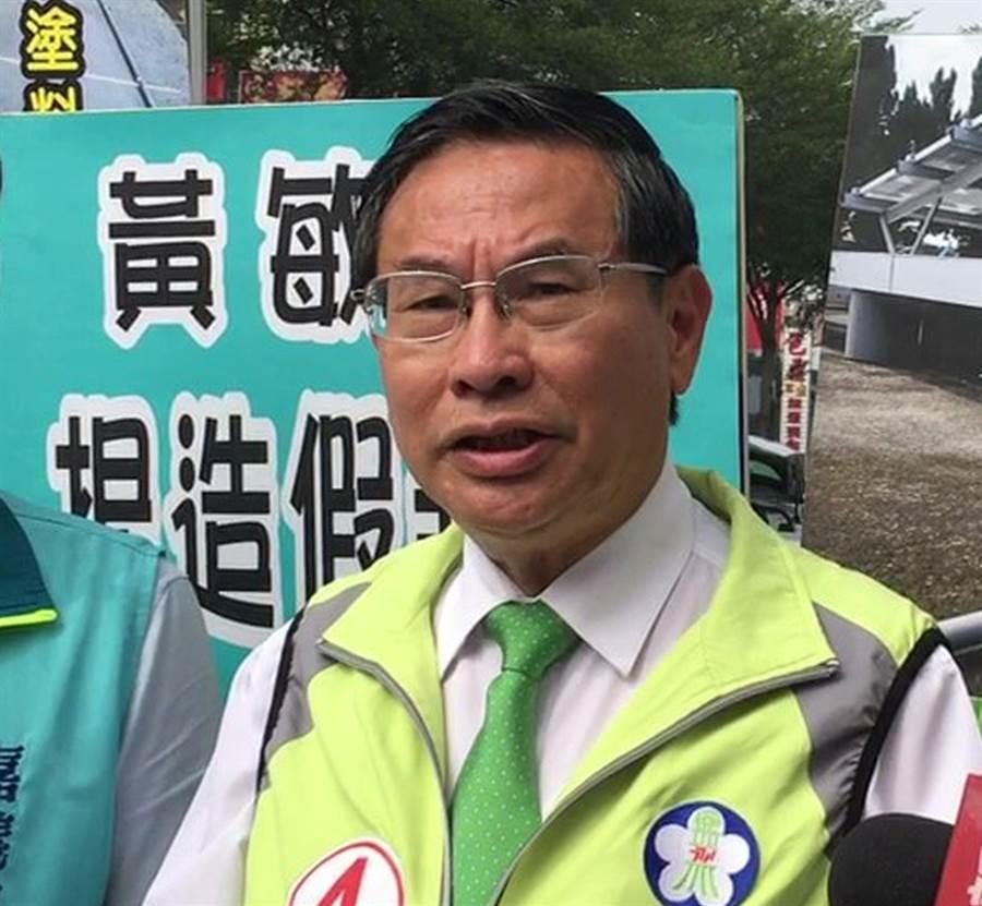 尋求連任的嘉義市長涂醒哲抨擊對手黃敏惠製造恐慌。(廖素慧攝)