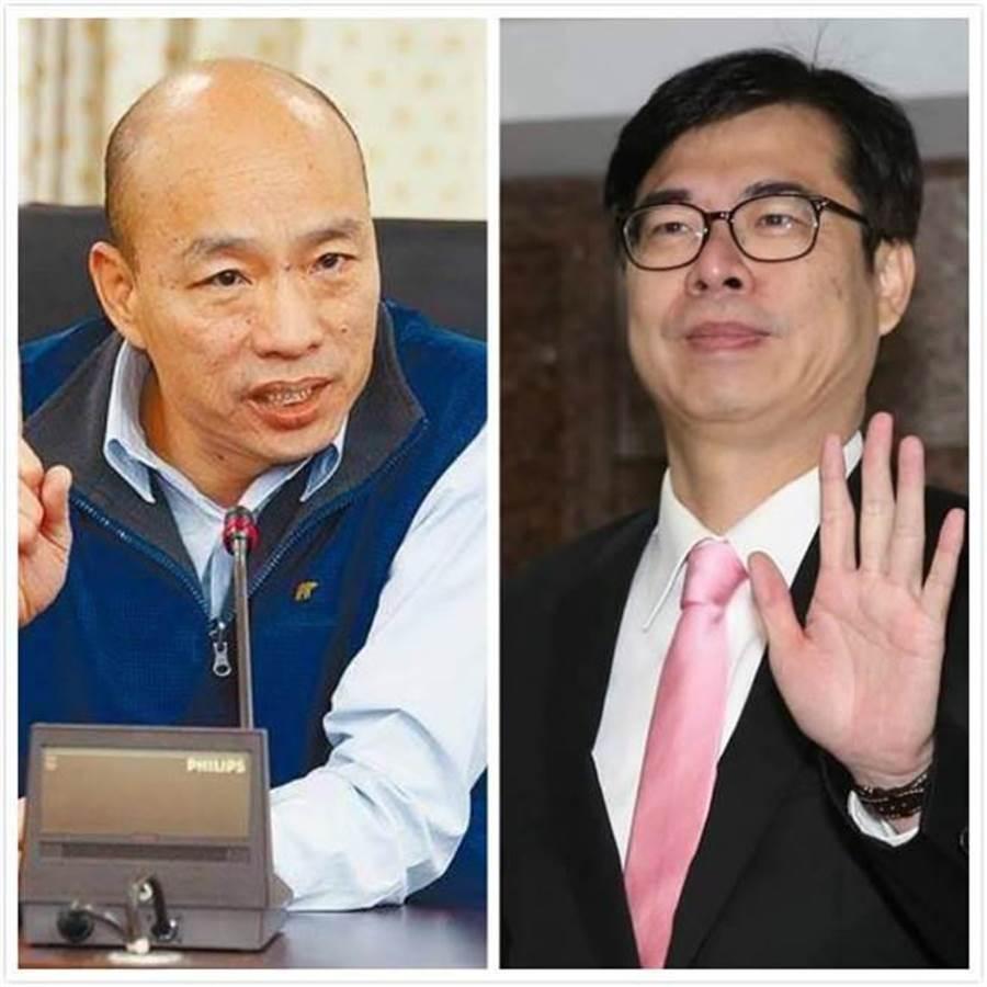 國民黨高雄市長候選人韓國瑜(左),民進黨高雄市長候選人陳其邁(右)。(合成圖/中時資料照)