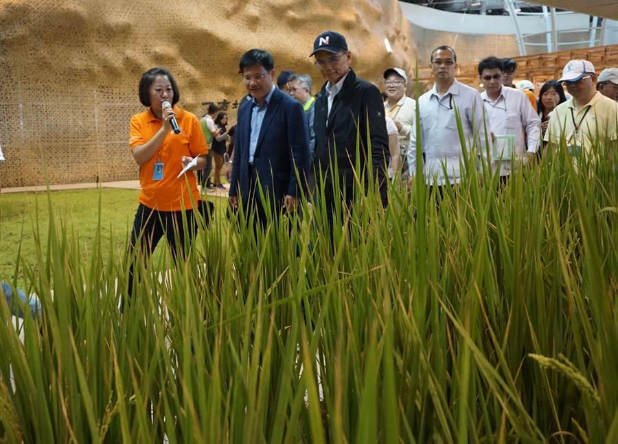 「水牛伯」游錫堃(左三)參觀花博外埔樂農館,台中市長林佳龍(左二)全程陪同。(王文吉攝)