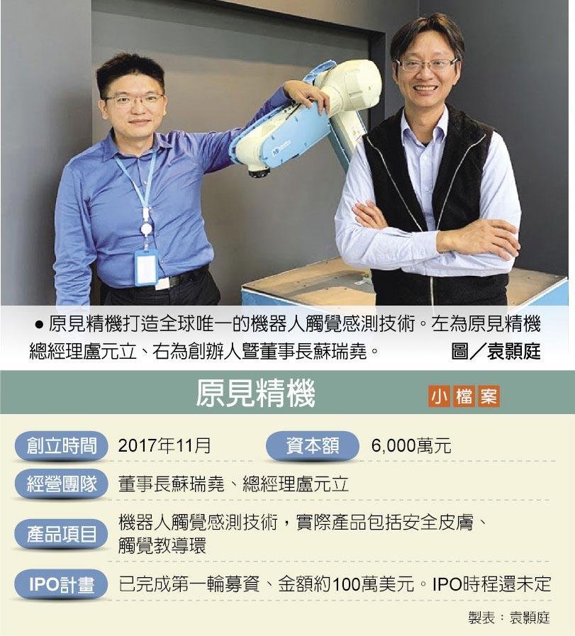 原見精機打造全球唯一的機器人觸覺感測技術。左為原見精機總經理盧元立、右為創辦人暨董事長蘇瑞堯。圖/袁顥庭
