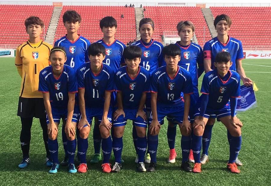 中華女足在東奧資格賽以9比0再勝蒙古,圖為中華隊此役的先發11人。(中華足協提供)