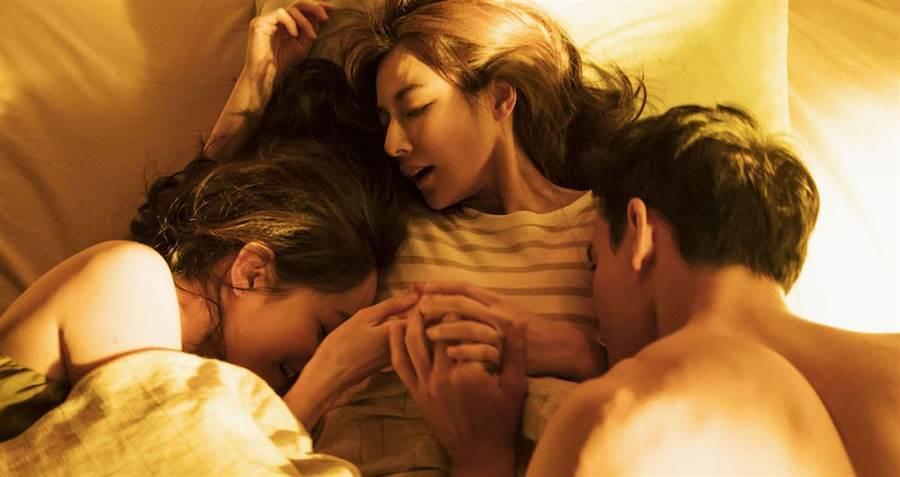 Janet(左起)、陳怡蓉、黃柏鈞拍幻想戲。(青睞影視提供)