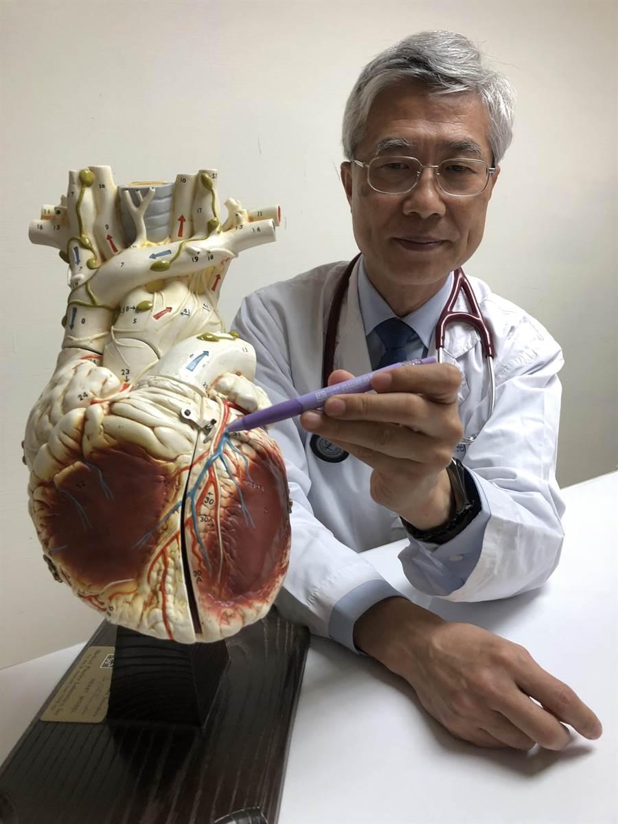 光田綜合醫院內科部副部長夏治平手指病患左前降枝狹窄處。(陳淑娥攝)